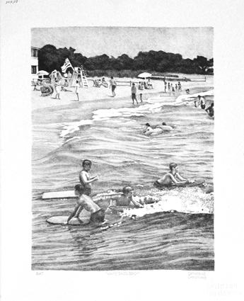White Sands Beach, stone lithography, 2012.
