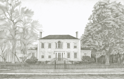 Drawing of the Sill House, Lyme Academy College