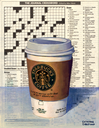 """Coffee and Crossword"", oil on paper on panel."